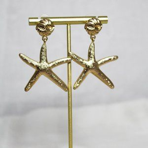 NWT Gold Starfish Earrings